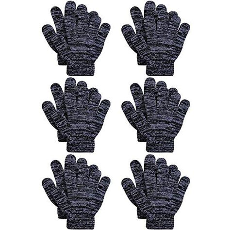Cooraby 2 Pairs Kids Thick Magic Gloves Winter Stretchy Warm Full Fingers Gloves Mittens