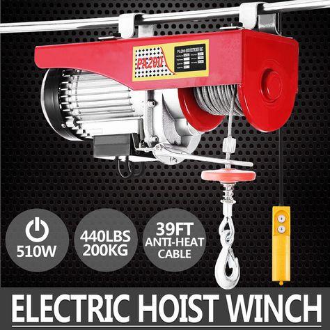 Electric Hoist Winch Lifting Engine Crane Garage Hanging Cable Lift Hook 200KG