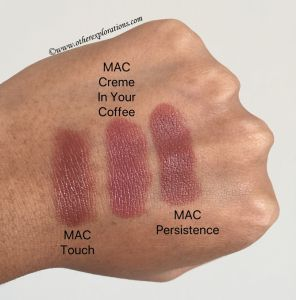 Mac Touch Creme In Your Coffee Persistence Lipstick Swatches