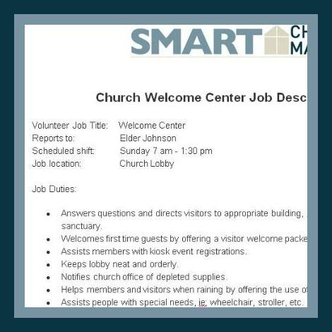 Church Forms And Job Descriptions Smart Church Management Volunteer Jobs Job Description Assistant Jobs