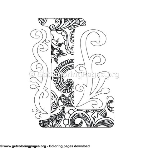 Zentangle Monogram Alphabet Letter L Coloring Sheet Coloring Letters Lettering Alphabet Mandala Coloring Pages