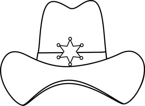 Sheriff Printable Black And White Sheriff Cowboy Hat Clip Art Image Black And White Cowboy Crafts Wild West Theme Cowboy Hat Crafts
