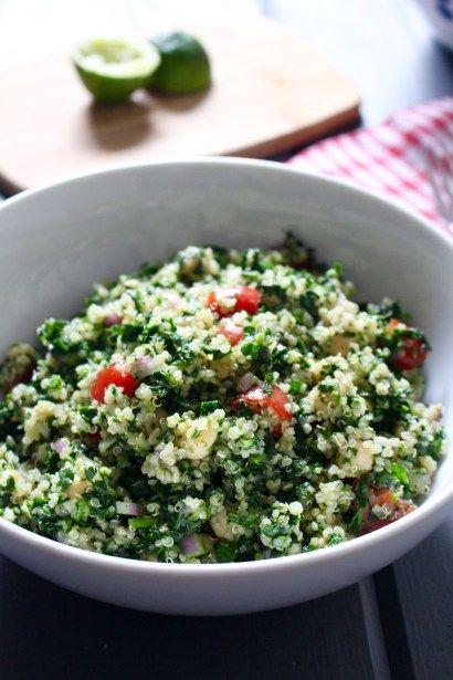 Cilantro Quinoa Salad With Chickpeas Spinach Vegan