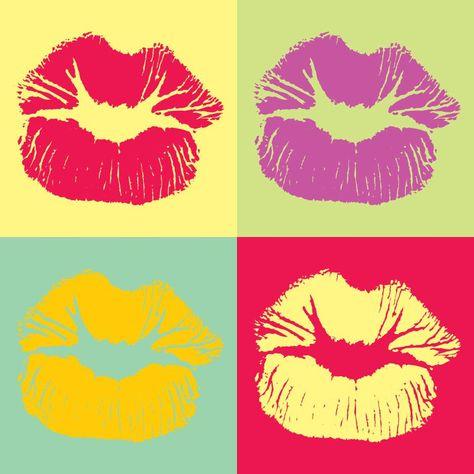 Pop Art Style Lips Kiss, Digital Art