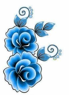 Flor azul | flower | Fabric painting, Geisha art, One stroke