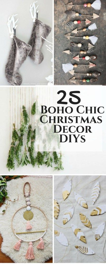 25 Diy Boho Chic Christmas Decor Ideas Creative Fashion Blog Chic Christmas Decor Diy Christmas Ornaments Christmas Decor Diy