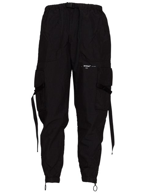 OFF-WHITE OFF-WHITE BLACK PARACHUTE CARGO PANTS IN BLACK. #off-white #cloth