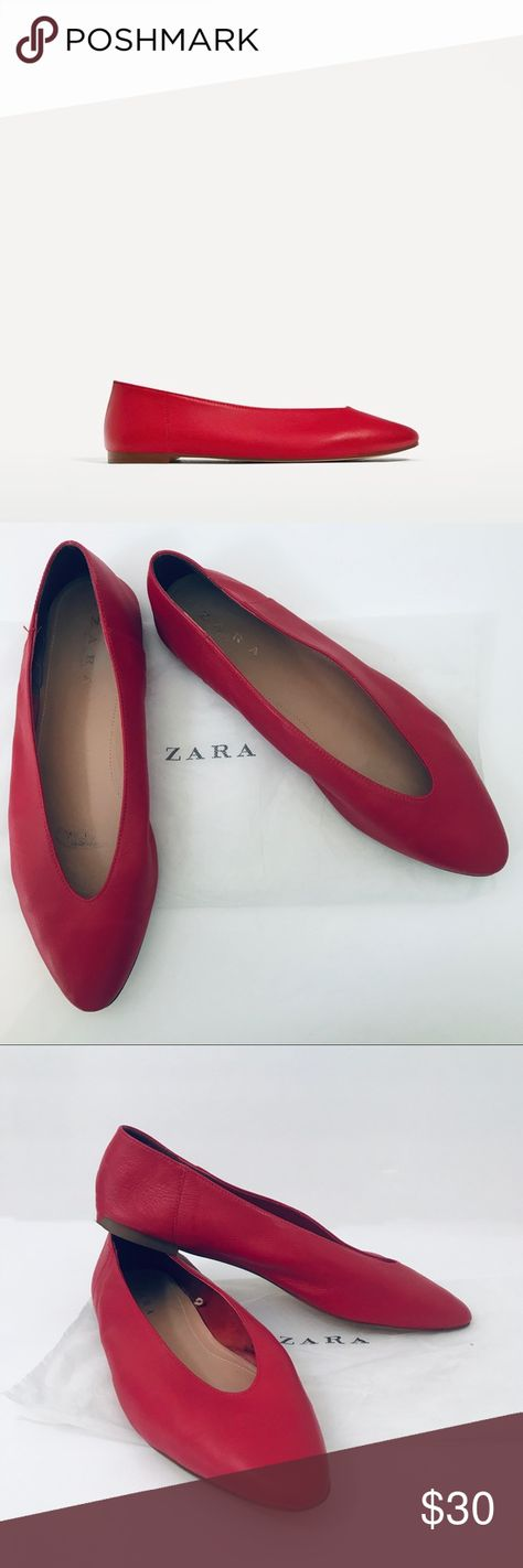 e604cb1ac66c9 Zara V-cut Leather Ballerinas Size 42 Red Zara V-cut Leather Ballerinas Size