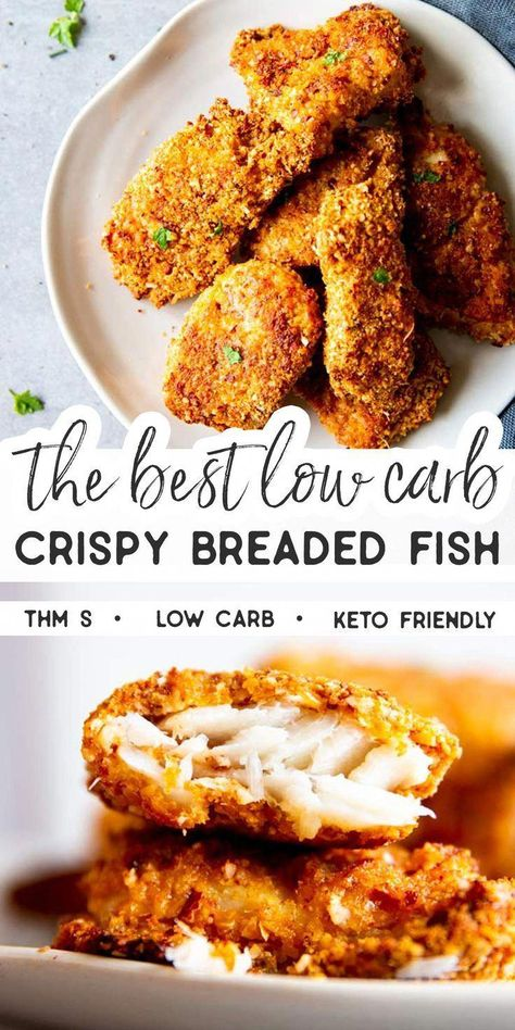 Low Carb Oven Fried Fish is a delicious way to serve up breaded fish - without all of the carbs! The breading is easy to make and turns into a golden crispy coating, perfect to dip into mayo!  This recipe is Trim Healthy Mama (THM S), low carb and keto friendly.   #recipe #easyrecipes #trimhealthymama #thm #thms #lowcarb #keto #dinner #easydinner #GoodLowCarbFoods