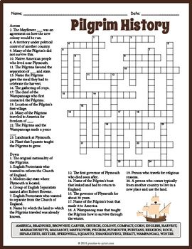 Pilgrim History Crossword Puzzle By Puzzles To Print Tpt Pilgrims History Crossword Puzzle Crossword