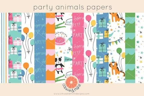 birthday party animals digital paper by Citrus and Mint on @creativemarket
