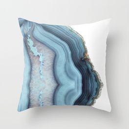 Light Blue Agate Throw Pillow Sinie Podushki Dizajn Shale Dekorativnye Podushki