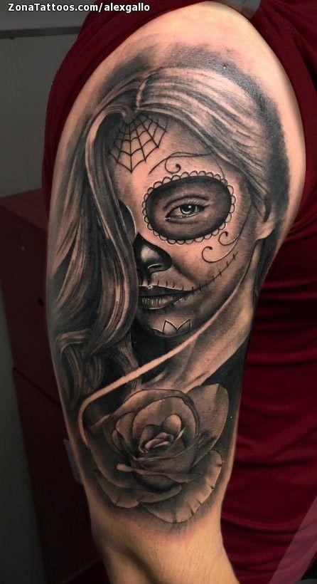 Tatuaje De Catrinas Rosas Hombro Zonatattoos Com Tatuajes Gangsta Hombres Tatuajes Tatuajes En El Gemelo