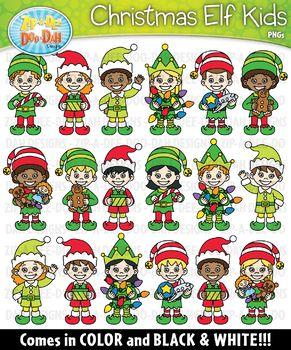 Christmas Elf Kid Characters Clipart {Zip-A-Dee-Doo-Dah