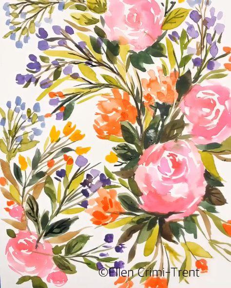 Bright fun blooms in watercolor