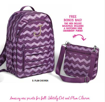 Hostess Exclusive for Fall. Her deluxe Backpack in Plum Chevron ...