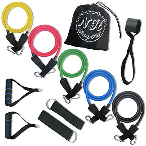 NHSport Resistance Bands  EBOOK  BONUSES Elastic Bands for Workout Physiotherapy  More BONUSES Carrying Pouch  Wrist Band  exercises EBOOK by NHSport JUST ADD IT TO YOUR TRAINING ROUTINE -- Click image to review more details. (This is an affiliate link)