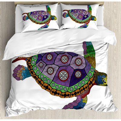 East Urban Home Psychedelic Sea Turtle With Ornamental Tattoos On