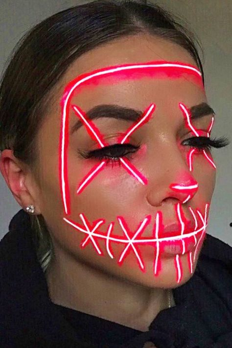 Neon Party Mask Makeup #neonmakeup ★ When creating your unique spooky look, Halloween makeup is the first thing to consider. To help you decide what kind of creature you will turn into, we've collected lots of easy, pretty, and scary ideas for everyone. See how to create dark skeleton makeup, how to become a creepy glittery witch, and how to amaze people with sexy vampire makeup. #halloween #halloweenmakeup #makeupideas #makeup