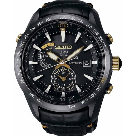 Seiko Men's 'Astron GPS Solar Limited Edition' World Time Black Leather Watch Size: One Size Fits All