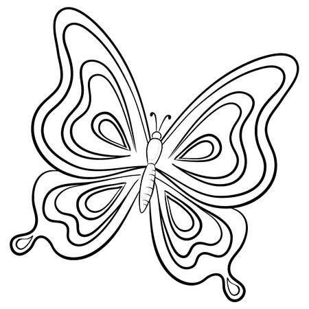 Vector Butterfly Hand Draw Monochrome Contours On A White Background Butterfly Coloring Page Butterfly Line Drawing Butterfly Outline