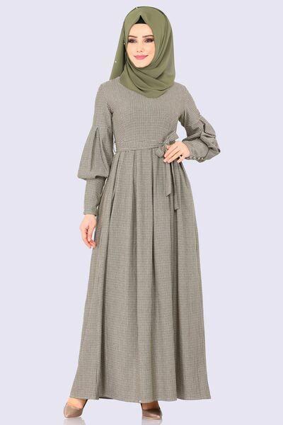 Modaselvim Elbise Balon Kol Pileli Elbise Kprs6825 Haki Musluman Modasi Basortusu Modasi Elbise