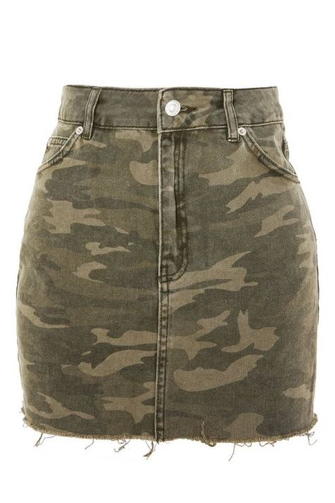 PETITE Camouflage Denim Skirt - Topshop USA