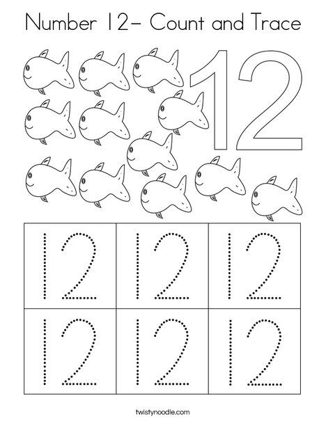 Number 12 Count And Trace Coloring Page Twisty Noodle Preschool Math Numbers Numbers Preschool Numbers Kindergarten