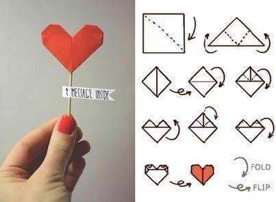 How to make heart origami - Como fazer origami de coração