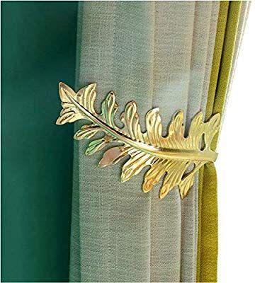 Ajinge Curtain Holdbacks Fashion Leaves Design Curtain Drapery Holdbacks Tie Back Curtain U Metal Hooks 1 Pair Golde With Images Leaf Curtains Curtains Holdbacks Curtains
