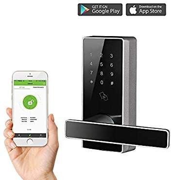 Smart Keyless Door Lock With Bluetooth Digital Keypad Password Door Locks For Office Home 5 Pcs Rfid Cards Zinc Alloy