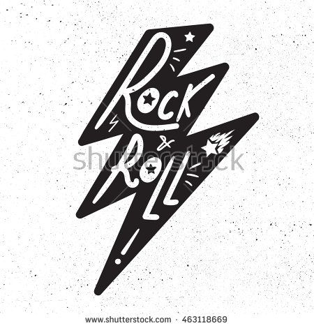 Rock and Roll Lettering for t-shirt, sticker, print, fabric, cloth. Vintage hand drawn monochrome music badge. Retro hipster sound emblem for card, concert flyer, fest, postcard, label, poster. Vector