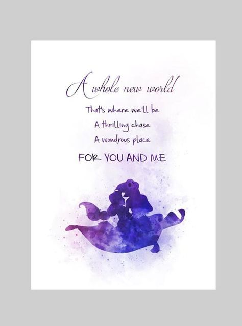 Aladdin Quote A whole new world PURCHASE MULTIPLE PRINTS AND ONLY PAY ONE COMBINED SHIPPING FEE Unique handmade Art Print created with mixed media and a contemporary design. Our high quality vivid images are Printed on 280gsm Professional Photographic Glossy Paper. Hand Signed and dated on the
