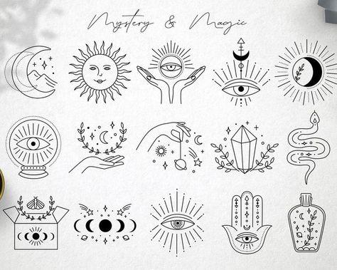 Cute Tiny Tattoos, Mini Tattoos, Small Tattoos, Unique Tattoos, Flash Art Tattoos, Mystic Symbols, Illustration Tattoo, Poke Tattoo, Thin Tattoo