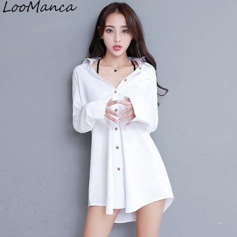 2d93edf1713d94 Mid-Long White Blouse Shirts Women Clothing 2018 New Size S-2XL Korean  Style Long Sleeve Ladies Loose Blouses & Tops. Yesterday's price: US $12.69  (11.15 ...