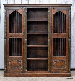 Large Carved Old World Style Bookcase With Two Iron Clad Doors 4