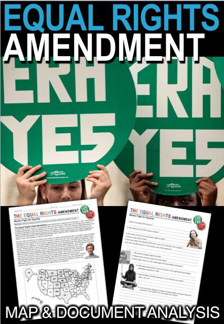 The Equal Rights Amendment Era Document And Map Analysis Equal Rights Amendment Equal Rights Equality