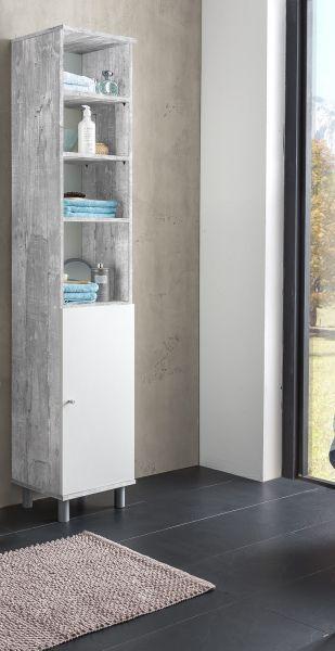 Hochschrank 1 Trg Mit 4 Fachern Beton Weiss Melamin Badezimmer Schrank Hochschrank Schrank