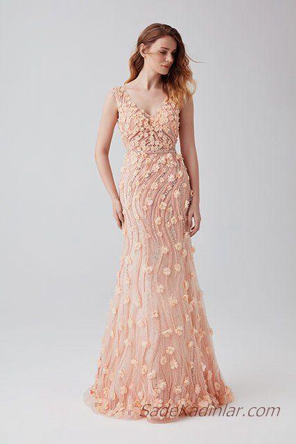 2019 Abiye Elbise Modelleri Pudra Uzun Kolsuz Cicek Islemeli Elbise Modelleri Elbise Resmi Elbise
