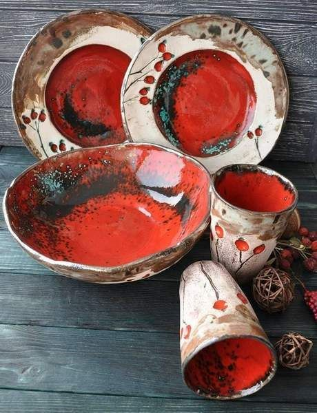 Designer Ceramic Dish Set Exclusive Design Natural Clay High