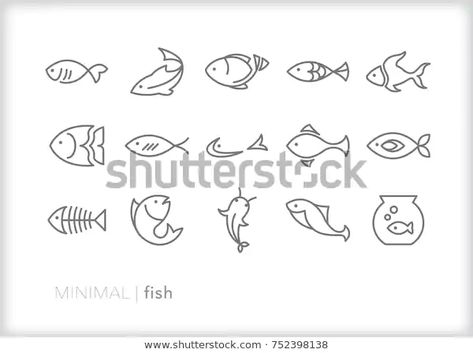 Image vectorielle de stock de Ensemble de 15 icônes de poisson 752398138