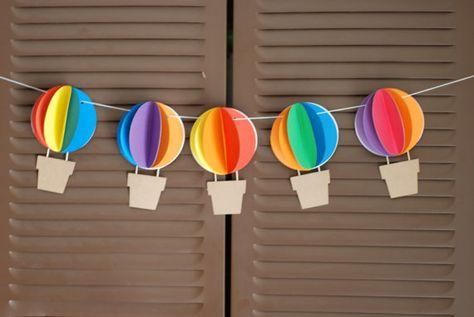 3D Banner de globo de aire caliente - Up y lejos - Rainbow - circo--babyshower, cumpleaños, decoración del cuarto de niños - colores de encargo disponibles