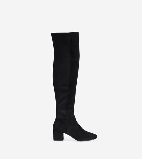 Cole Haan Women's Elnora Over The Knee Boot (Black Suede