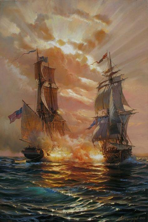 Ship painting by Alexander Shenderov ocean painting sail boat image 1
