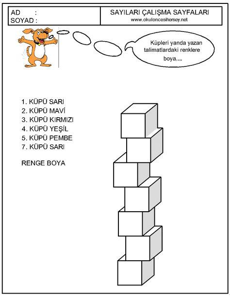 Okul Oncesi Sayı Kavramı Sıralama Etkinlikleri Boyama Sayfaları 6