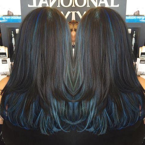 Dark Hair With Blue Highlights Oilslick With Images Blue Hair Highlights Brown Ombre Hair Color Hair Highlights