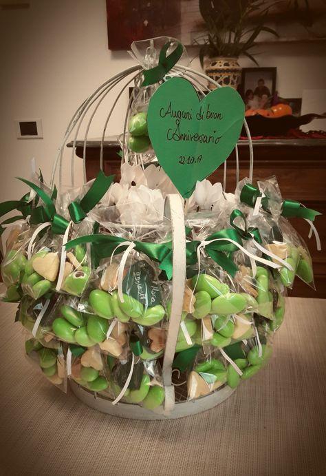 Anniversario 40 Anni Matrimonio.Nozze Di Smeraldo Anniversario 40anni Family Confetti Verde