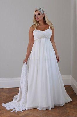 White Ivory Long Chiffon Beaded Wedding Dress Bridal Gowns Plus