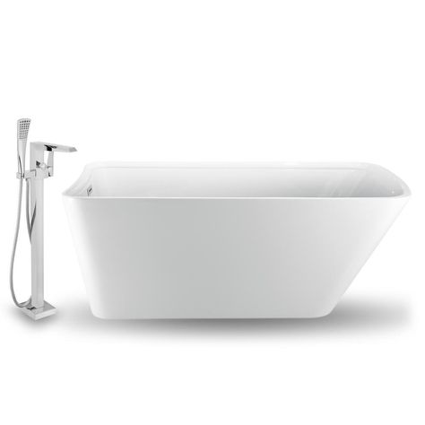 Streamline Tub Faucet And Tray Set 59 In Acrylic Flatbottom Non Whirlpool Bathtub In Glossy White Nh1201 100 The Home Depot Faucet Chrome Faucet Deep Soaking Tub