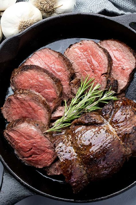 Make melt-in-your-mouth roasted beef tenderloin with a simple garlic brown butter sauce. This simple recipe is a show stopper! Make melt-in-your-mouth roasted beef tenderloin with a simple garlic brown butter sauce. This simple recipe is a show stopper! Beef Steak Recipes, Beef Recipes For Dinner, Crockpot Recipes, Cooking Recipes, Roasted Beef Tenderloin Recipes, Beef Tips, Cooking Tips, Beef Tenderloin Roast, Cooking Beef